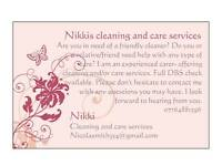Cleaner and/or carer avaliable