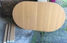 Large Wood Extending Oval Dining Table seats 6-8