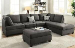 FREE PERTH METRO DELIVERY! Five Seat Chaise Sofa FREE Ottoman