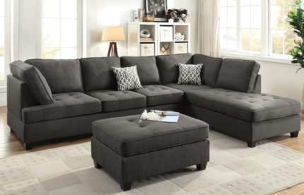 **BRAND NEW**Five Seat Linen Look Chaise Sofa and Ottoman