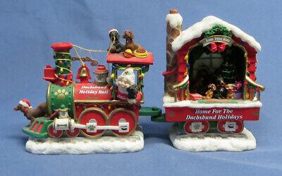 Używany, Dachshund Holiday Rail Danbury Mint Christmas Train 2 Pieces Engine Caboose na sprzedaż  Wysyłka do Poland