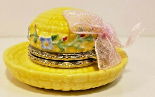 Cooking Club of America Trinket Box~ GARDEN HAT YELLOW  R1