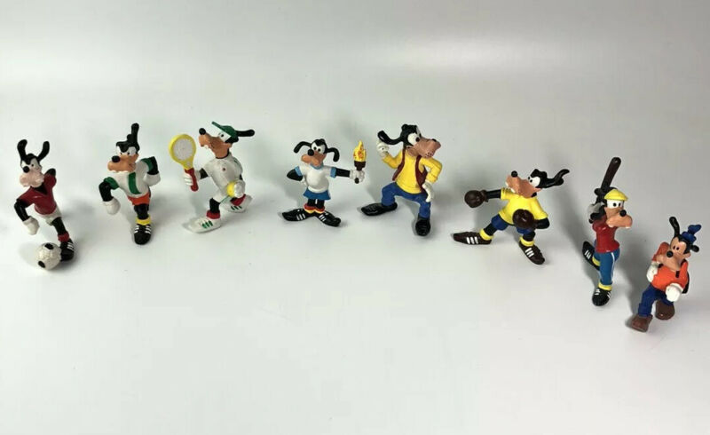 Lot Of (8) Vintage PVC Goofy Figurines M+B Made In Portugal- Soccer Tennis Box