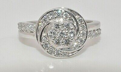 18ct white gold 0.50ct diamond cluster ring size K 1/2