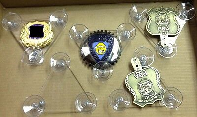 Suction Cup Holder for Police PBA or FOP Shield & Badge  *SMALL*  2017