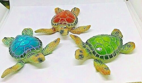 """Set of 3 Sea Turtle Figurines 3.25"""" Long Textured Polystone Brown Blue Green"""