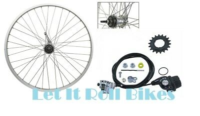 """BICYCLE REAR WHEEL 26"""" X 1.75 SHIMANO INTERNAL 3-SPEED CABLE SHIFTER SILVER!"""