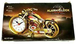 Motorcycle  Model AutoBike Vintage Harley Davidson Gold Analog Desk Alarm Clock