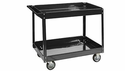 24 In X 36 In 2 Shelf Steel Service Utility Tool Storage Rolling Push Shop Cart