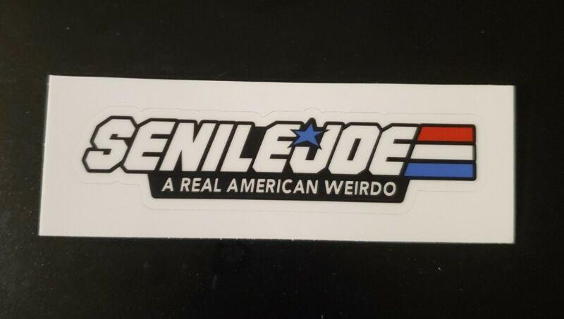 Joe Biden Funny Political Sticker Senile Joe G.I. Joe Parody Funny Sticker