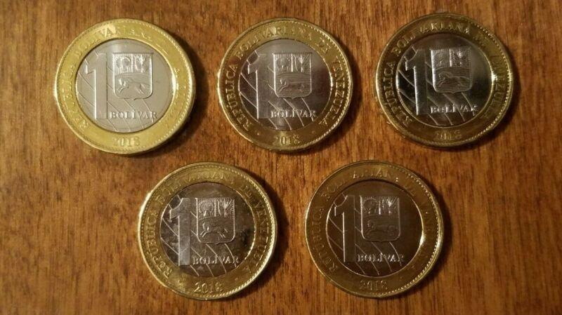 VENEZUELA - lot of five 1 bolivar soberano 2018 coins, uncirculated