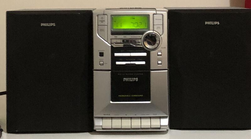 Philips MC10/37 Plays Cas/CD/Radio+headphones. Incredible Surround Sound!!!
