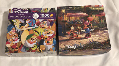 Lot Of 2 Disney Puzzles Kinkade Mickey and Minnie Sweetheart Cafe, Snow White