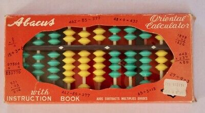 Vintage ABACUS Oriental Calculator with Instruction Book Colored Beads VHTF