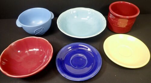lot (6) vintage solid color pottery dishes bowls plate Longaberger Fiesta Hall