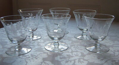 Antique Vintage Sherbert Cordial Glasses Etched set of 7
