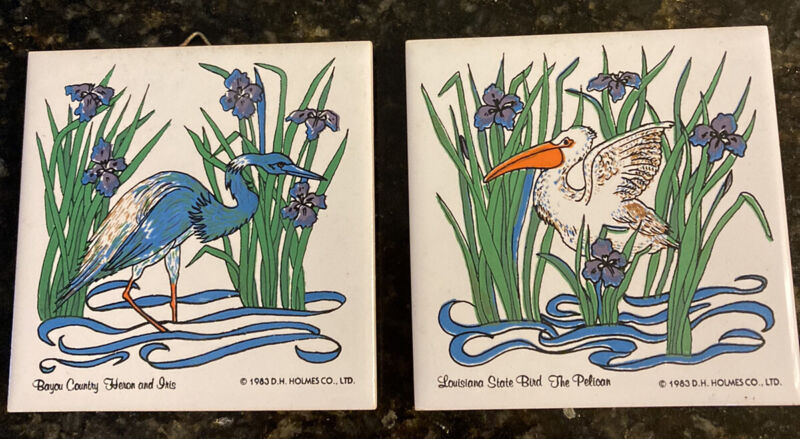 """2 D H Holmes New Orleans Ceramic Tiles 1983 Pelican and Heron W/ Iris 4.25"""" Sq"""