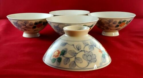 Japanese Rice Bowl White Imari Porcelain Orange Tsubaki Flower Made in Japan