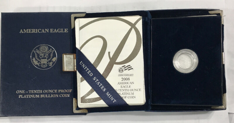 2008 W $10 1/10 Platinum American Eagle Proof OGP & COA No Coins