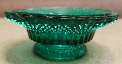 Vintage Green Glass Tiny Hobnail Feature Trinket Dish Star Design