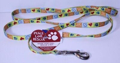 "Pet Attire Peace Love Rescue Dog Leash 4' Feet Long 3/8"" Wide"