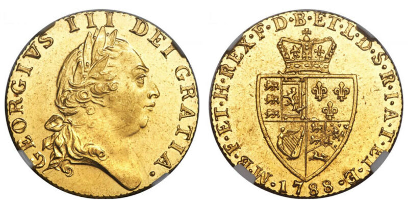 GR. BRITAIN George III. 1788 AV Guinea NGC MS63 S-3729 Rare date in this quality