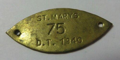 Vintage 1940 Dog Tag License Tax Receipt ST. MARY