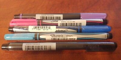 New Sharpie Pen Marker Fine Tip Lot Of 5 Assorted Colors Pink Blue Black