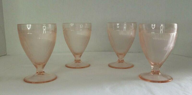 """(4) Vintage Jeannette Homespun Pink Depression 4"""" Footed Juice Goblets Good Cond"""