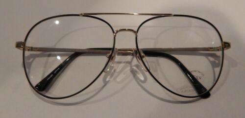 Vintage Elite Spartan Gold/Black Matte 54/15 Aviator Eyeglass Frame NOS #S40
