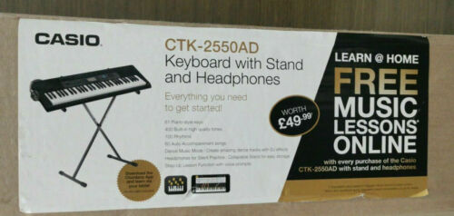Casio CTK-2550AD Full Size 61 Key Keyboard with Stand & Headphones Black