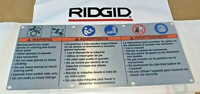 Ridgid Pipe Threader Safety Warning Plate 88690 Fits 300 1224 535.