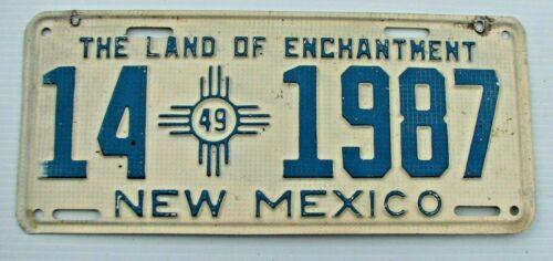 "NICE! 1949 NEW MEXICO AUTO LICENSE PLATE "" 14 1987 "" ORIGINAL NM VALENCIA COUNTY"