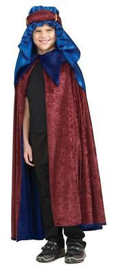 Magi King Melchior Child Biblical Costume 3Pc Bl/Burg Velour Cape & Headpiece - 3 Kings Costumes
