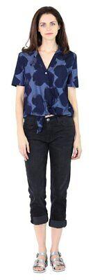 Equipment Femme Navy Blue Heart Print Cotton Tie Front Keira Blouse Top SZ M