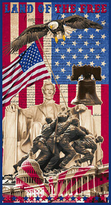 Land Of The Free Fabric Panel Patriotic Eagle, Liberty Bell, Blank Quilting Co