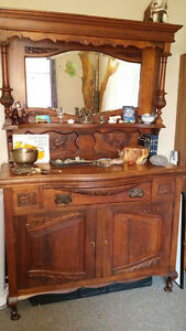 ANTIQUE DRESSER/CREDENZA WITH MIRROR
