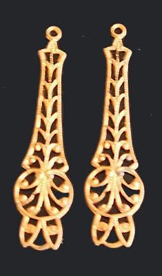 2 Vintage long Fillagree Brass Drops Pendants findings 40 mm L. stampings raised