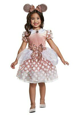 NEW Disguise Girls Disney Minnie Mouse Rose Gold Dress Costume Toddler 3T/4T](Minnie Mouse Toddler Costume 3t)