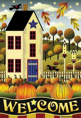 Jeremiah Junction House Flag AUTUMN HOUSE WELCOME 28 x 40 Primitive NEW in PKG