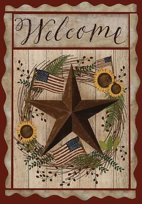 #28 AUTUMN WELCOME BARNSTAR FALL PATRIOTIC SUNFLOWERS  HOUSE FLAG 28X40 BANNER