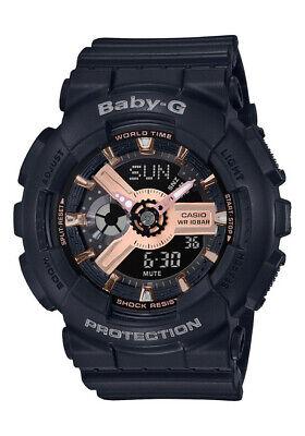 BRAND NEW CASIO BABY-G BA110RG-1A BLACK/ROSE GOLD ANA-DIGI WOMAN'S WATCH NWT!!!!