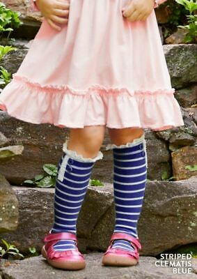 NEW Matilda Jane Perfectly Paired Striped Clematis Blue Socks, Moments, Medium