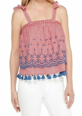 Bow Tie Tank (Crown & Ivy Bow Tie Strap Tank Red White Embroidered NEW MSRP $65)