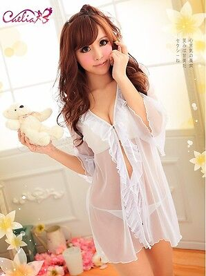 Ladies Sexy White Sheer Babydoll Chemise Sleepwear Dress with G-String #0776