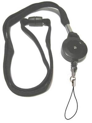 Black Retractable Lanyard Reel Inc Nylon Fixed Loop With Safety Breakaway