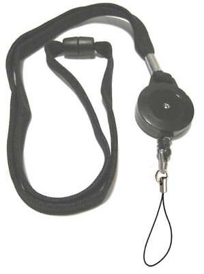 Black Retractable Lanyard Reel Inc Nylon Fixed Loop With Safety Breakaway