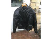 Mens Black Leather Biker Motorcycle Jacket XL 46-48
