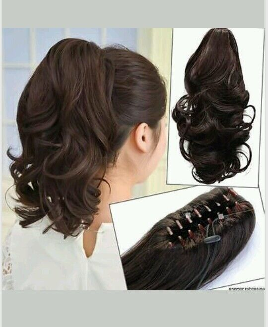 NEW ~ Clip-in Medium Brown Curly Wavy Ponytail Hair Extension ~ EASY TO USE! DIY