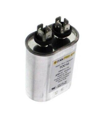 Run Cap 10 Mfd 370vac Electric Motor Run Oil Fill Capacitor Uf Hvac Titan Oval